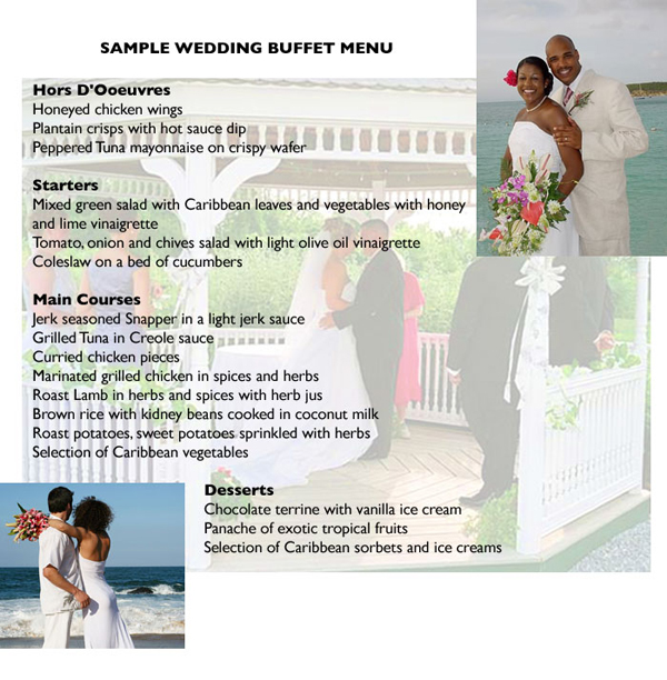 Wedding Food Buffet Menus: Sample Wedding Buffet Menu